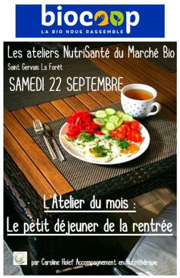Les ateliers NutriSanté commencent le 22 septembre à la Biocoop : je vous y attends toute la journée pour vous aider à préparer un petit déjeuner de la rentrée, un petit déjeuner énergique et physiologiquement équilibré.