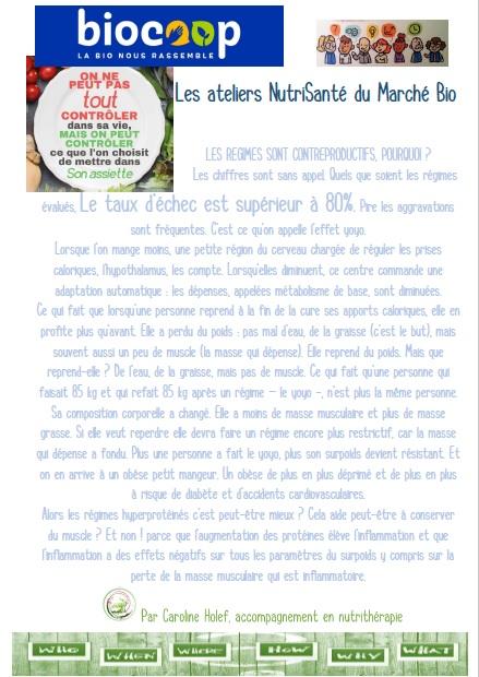 Les ateliers NutriSanté animés par Caroline Holef à la Biocoop de Saint Gervais la Forêt - Blois